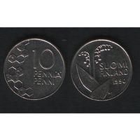 Финляндия km65 10 пенни 1990 год (M) (новый тип) CuNi цветы (f32)(b04)n*
