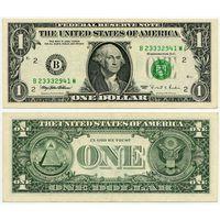США. 1 доллар (образца 1995 года, B, Нью-Йорк, P496)