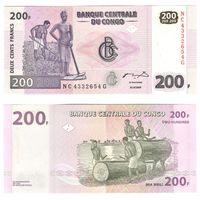 200 франков Демократическая Республика Конго 2007 год Крестьянин и статуя крестьянки ПРЕСС UNC