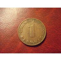 1 пфеннинг 1950 год D ФРГ