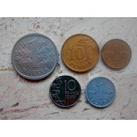 Набор 5 монет: 1 марка, 10, 10, 1, 1 пенни Финляндия
