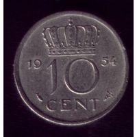 10 центов 1954 год Нидерланды