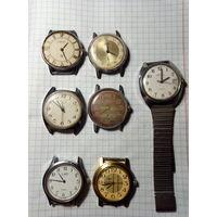 Часы под реставрацию 7 шт.,одним лотом.Старт с 2-х рублей без м.ц.Смотрите другие лоты,много интересного.