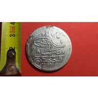 1 пиастр 1774 (AH1187) 2-й год правления. Константинопольский МД. Турция. Османская империя.  Абдул Хамид I. AG 0.465. Большая красивая монета!