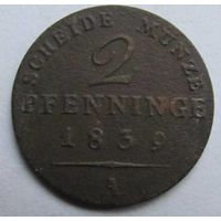 Пруссия 2 пфеннига 1839
