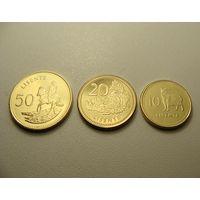 Лесото. набор из 3 монет 10, 20, 50 лисенте 2018 года