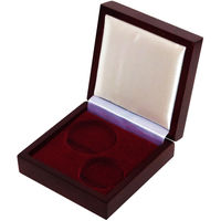 Футляр для монет с ложементом на 2 ячейки D 44 и 36,5 мм деревянный