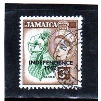 Ямайка.Ми-213. Mahoe цветок. Серия: Королева Елизавета II и местные сцены (1956-58). Надпечатка: независимость 1962.