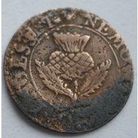 Шотландский торнер (двойной пенни) 1632-1633 г. первая медная монета на Беларуси-7