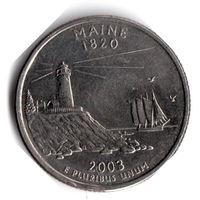 США. 1/4 доллара (1 квотер, 25 центов). 2003. Мэн. D