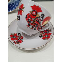 Чашка с блюдцем чайная пара Золотой петушок ЛФЗ