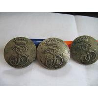 Старинные ливрейные пуговицы д=33-35мм ,цена за 3 торг