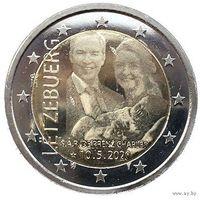 2 евро 2020 Люксембург Рождение Принца Чарльза UNC из ролла тиснение