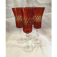 Бокал для вина(шампанского) Рубиновые горошки. Неман, СССР