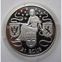 Гибралтар 21 ЭКЮ 1995 Европа - серебро 19,2 гр. 0,925 - редкая, тираж 15.000!