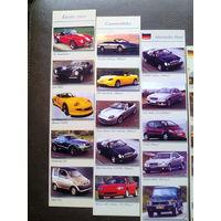 """Набор закладок для книг """"АВТОМОБИЛИ"""" (Япония, США, Англия, Германия, Франция и тд),  (11 штук, 90-е годы XX века)."""
