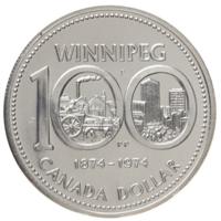Канада 1 доллар 1974 г. (100 лет Виннипегу) серебро/proof  в капсуле