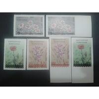 Киргизия 2002 Цветы полная серия надпечаток ( с зубцами и без)