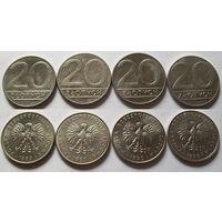 Польша, 20 злотых 1984,1985,1986,1987,1989,1990 год.