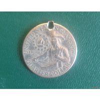 """25 центов, США 1976 D, """"Барабанщик"""" (медальон, серьга)"""