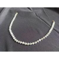 Ожерелье, Simmons, 12k  позолота, хрусталь, 40см длинна