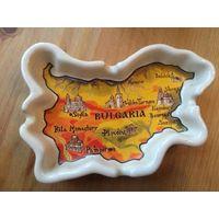 Пепельница и картой Болгарии, сувенирная. Размер 13 на 9 см. Новая. Обмен не интересует