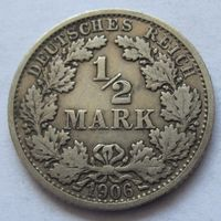 Германия 1/2 марки 1906 отметка монетного двора F - Штутгарт
