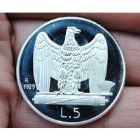 Италия 5 лир 1929г. посеребрянная. распродажа