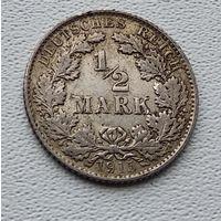 """Германия 1/2 марки, 1915 """"E"""" - Мульденхюттен 7-10-32"""