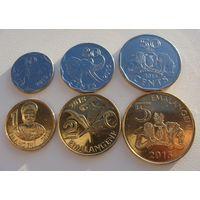 Свазиленд.  Набор 6 монет 10, 20, 50 центов - 1, 2, 5  эмалангени  2015 год
