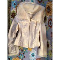 Куртка натуральная кожа белая норка р-р 42-44