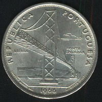 Португалия 20 эскудо 1966 г. Мост Салазара в Лиссабоне. Серебро.