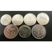 ИНДОНЕЗИЯ 100, 200, 500, 1000 рупий (7 монет)