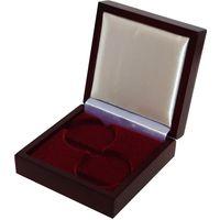 Футляр для комплекта монет НБ РБ с ложементом на 2 ячейки D 44 мм деревянный