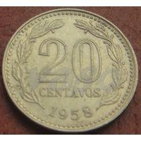 5067:  20 сентаво 1958 Аргентина КМ# 55 никель