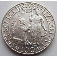 Чехословакия, 100 крон, 1948, серебро