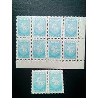 """Стандарт, 1992 год """"Погоня""""   номинал 0,45(2х4), 0,30 10 марок (2х4, и 1х2), 0,50 (2х4)    итого 28м"""