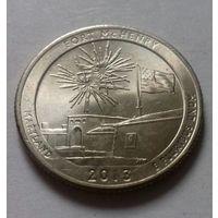 """25 центов, квотер США, нац. парк """"Форт Мак-Генри"""" (штат Мэриленд), D"""