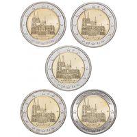 2 евро 2011 Германия 5 дворов Федеральные земли Германии - Кёльнский собор UNC из ролла