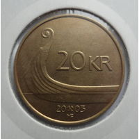"Норвегия 20 крон 2003 ""Нос корабля викингов, король Харальд V"""
