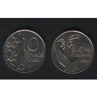 Финляндия km65 10 пенни 1990 год (M) (новый тип) CuNi цветы (f37)