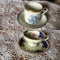 Кофейная пара  Чашка Голубая Роза и Розовые цветы Bavaria и Швеция