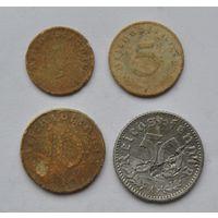Германия. 1, 5, 10, 50 пеннингов
