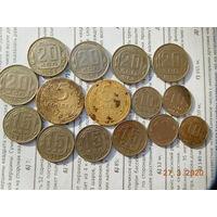 РЕДКИЕ МОНЕТЫ!!! 5 копеек 1934 г. и 5 копеек 1935 г.(ст. тип ) + ещё 13(шт.)хороших монет СССР до 1961 г. (без повторов)всё одним лотом, распродажа с 1 - го рубля, без минимальной цены!!!
