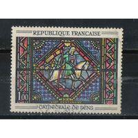 """Франция 1964 Витраж собора в Сансе """"Св.Павел на дороге в Дамаск"""" #1403"""