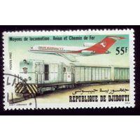 1 марка 1982 год Джибути Поезд и самолёт 343