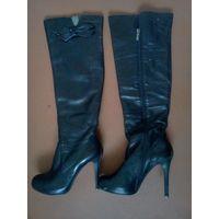 Сапоги кожаные, высокий каблук, р-р 36