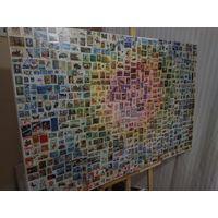 Абстракция. Холст. Почтовые марки мира. Масло. Картина