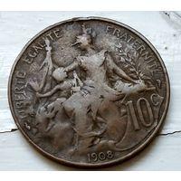 Франция 10 сантимов, 1908 2-5-14