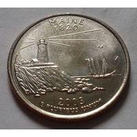 25 центов, квотер США,  штат Мэн, P